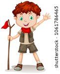 a cute boy scout on white... | Shutterstock .eps vector #1061786465