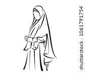 woman in hijab line art vector | Shutterstock .eps vector #1061791754
