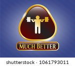 gold badge or emblem with... | Shutterstock .eps vector #1061793011