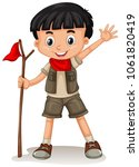 a cute boy scout on white... | Shutterstock .eps vector #1061820419