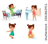 girl kid morning routine vector ... | Shutterstock .eps vector #1061862911