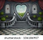 Stock photo background room with door in shape of heart computer graphics 106186907