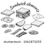 sketch of sandwich. hand drawn... | Shutterstock .eps vector #1061873255