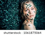 beautiful young woman with... | Shutterstock . vector #1061875064