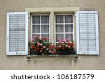 geranium flowers on a window... | Shutterstock . vector #106187579