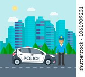 police patrol on a road with... | Shutterstock .eps vector #1061909231
