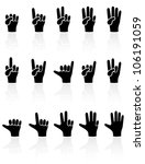 Set of black Hands icons on white background, illustration - stock vector