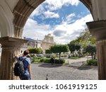 traveller visiting market... | Shutterstock . vector #1061919125