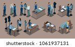 isometric tailor  a set of mini ... | Shutterstock .eps vector #1061937131