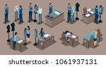 isometric tailor  a set of mini ... | Shutterstock .eps vector #1061937131