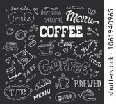 big coffee set hand drawn... | Shutterstock .eps vector #1061940965