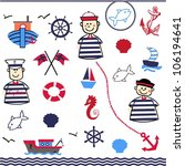 digital collage of nautical | Shutterstock .eps vector #106194641