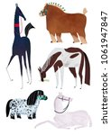 Horses Illustration Raster Set...