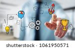 businessman on blurred... | Shutterstock . vector #1061950571