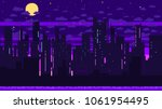 pixel art game background with... | Shutterstock .eps vector #1061954495