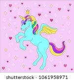 blue unicorn  on pink... | Shutterstock .eps vector #1061958971