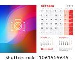 october 2019. desk calendar...   Shutterstock .eps vector #1061959649