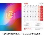 june 2019. desk calendar design ... | Shutterstock .eps vector #1061959655