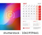 july 2019. desk calendar design ... | Shutterstock .eps vector #1061959661