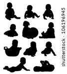 eleven babies shadows on a... | Shutterstock .eps vector #106196945