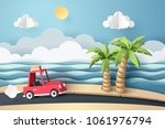 paper art of red car move along ... | Shutterstock .eps vector #1061976794