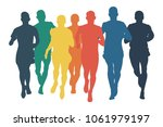 group runners men run colored... | Shutterstock .eps vector #1061979197