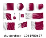 set qatar flags  banners ... | Shutterstock .eps vector #1061980637