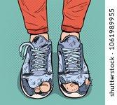 Pop Art Old Sneakers. Dirty Ol...