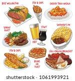vector illustration set of food ... | Shutterstock .eps vector #1061993921