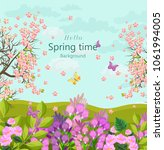 spring time card with flowers... | Shutterstock .eps vector #1061994005