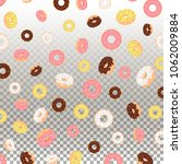 background with donuts with... | Shutterstock .eps vector #1062009884
