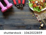 fresh healthy salad with... | Shutterstock . vector #1062022859