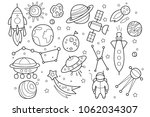 vector set of hand drawn space... | Shutterstock .eps vector #1062034307