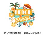 beach party poster with palm ... | Shutterstock .eps vector #1062034364