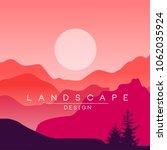 beautiful peaceful mountain... | Shutterstock .eps vector #1062035924