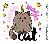 dark brown cat magic unicorn.... | Shutterstock .eps vector #1062036281