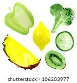 apple  pineapple  segment ... | Shutterstock . vector #106203977