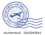 air mail round postmark with... | Shutterstock .eps vector #1062043061