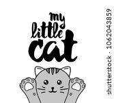 gray cat. lettering with text ... | Shutterstock .eps vector #1062043859