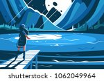 cute girl stand on pier at... | Shutterstock .eps vector #1062049964
