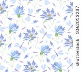 Stock vector seamless vector pattern with cornflowers and dragonflies 1062053237
