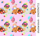 waffles  ice cream  strawberry  ... | Shutterstock . vector #1062056711