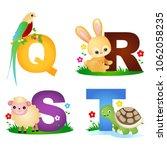 animal alphabet letter q r s t... | Shutterstock .eps vector #1062058235