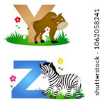 animal alphabet letter y z with ... | Shutterstock .eps vector #1062058241