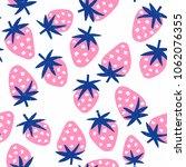 strawberry seamless background. ... | Shutterstock .eps vector #1062076355