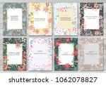 set of card with flowers... | Shutterstock .eps vector #1062078827
