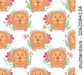 watercolor pattern animal face... | Shutterstock . vector #1062084134