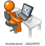 an orange man sitting at a... | Shutterstock .eps vector #10620955