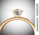 Golden Wedding Ring with Diamond - stock photo