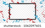red and blue ribbon  | Shutterstock . vector #1062097601
